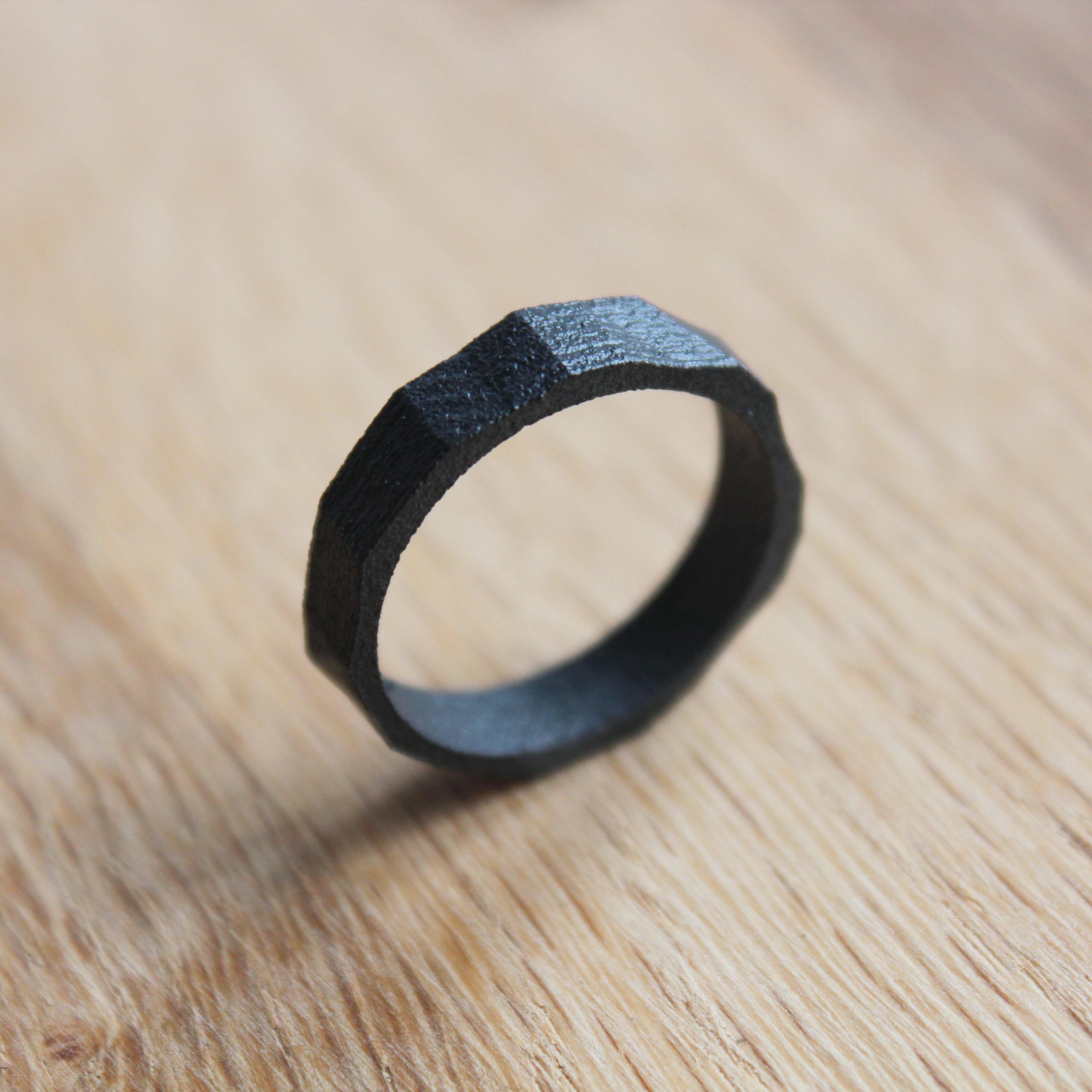 Brimir - Matte Black Viking jewelry ring band
