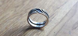 vile sterling silver geometric viking ring